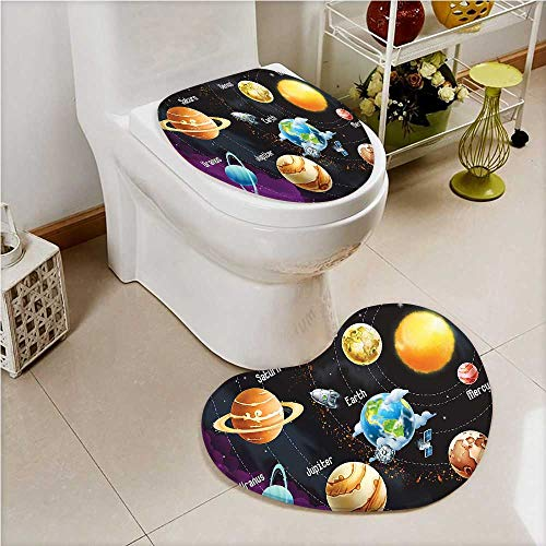 2 Piece Toilet mat Set Solar System of Planets Milk Way Neptune Venus Mercury Sphere Toilet Cushion Suit by aolankaili