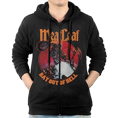 World Traveller Costume (GHGH Men's Meat Loaf Band Bat Out Of Hell Zip-Up Sweatshirt Jackets Black Size XXL)