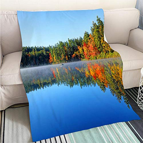 BEICICI Breathable Flannel Warm Weighted Blanket Autumn Reflection in White Mountains Region of New Hampshire Sofa Bed or Bed 3D Printing Cool Quilt