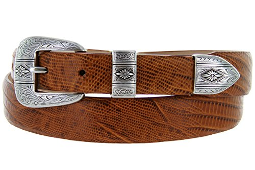 Silver Mesa - Men's Italian Calfskin Designer Dress Golf Belt with Western Silver Plated Buckle Set (48 Lizard Tan)