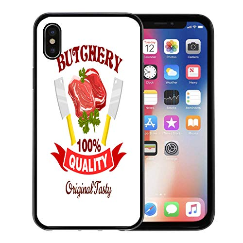 - Emvency Phone Case for Apple iPhone Xs Case/iPhone X Case,Butcher Badge Fresh Pork Mutton Beef Meat Raw Tenderloin Soft Rubber Border Decorative, Black