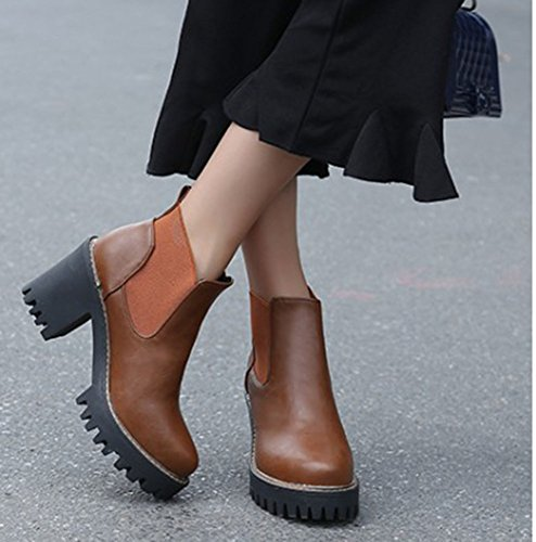 Easemax Women's Elegant Pull On High Chunky Heel Round Toe Platform Ankle High Boots Brown N0ZCS6