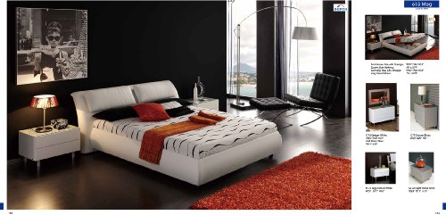 ESF Meg White Leather & Lacquer Queen Size Platform Bedroom Set by (ESF) European Style Furniture