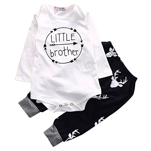 Price comparison product image Fantasysy Baby Boys LITTLE brother Long Sleeve Bodysuit and Deer Pants Outfit (70:0-6m)