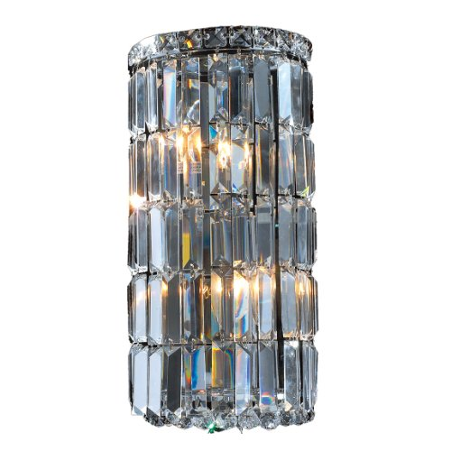Worldwide Lighting Cascade Collection 4 Light Chrome Finish Crystal Rounded Wall Sconce 8