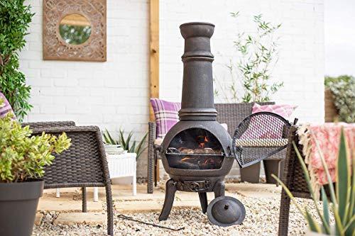 La Hacienda Large Sierra 100% Cast Iron Chiminea With BBQ Grill