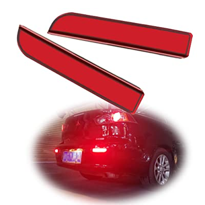 GTINTHEBOX Red Lens Led Rear Bumper Reflector Brake Tail Light with Sequential Turn Signal Lamps and Strobe Brake Lighting Kit for Mitsubishi Lancer, Evolution X or Outlander 2008-2020: Automotive