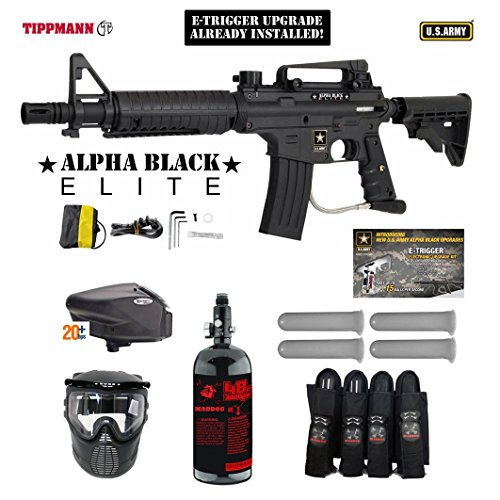 MAddog Tippmann U.S. Army Alpha Black Elite Tactical w/E-Grip Expert Paintball Gun Package – Black