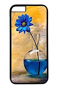 iPhone 6 Plus Case, Customized Slim Protective Hard PC Black Case Cover for Apple iPhone 6 Plus(5.5 inch)- Blue Flower