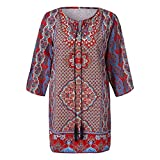 Women Boho Vintage Printed Dress Slim Beach Dress Loose Summer Casual Dresses (Red, S)