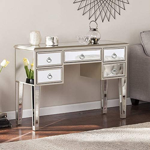 MTFY Mirrored Console Table,Mirrored Makeup Vanity Table Desk, 5 Drawer Media Console Table for Women Home Office Writing Desk Smooth Finish with Ring Knobs 5 Drawer