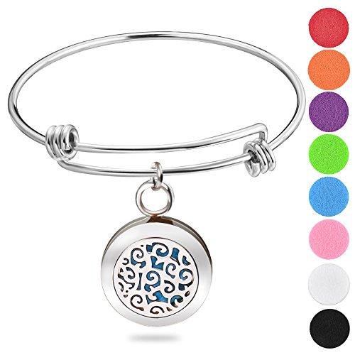 Essential oil diffuser bracelet, ROMANDA Stainless Steel Locket and Perfume Diffuser Bracelet, Aromatherapy Charm Locket Bangle with 8 PCS Color Pads