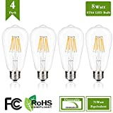 Dimmable Vintage Edison LED Bulb, 8W ST64 Antique LED Bulb Squirrel Cage Filament with 360 Beam Angle, 4000k Natural White 75W Incandescent Replacement, 850 Lumens (Pack of 4)