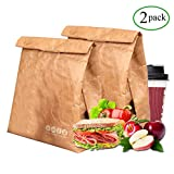 Tyvek Lunch Bag pack of 2, Eco Waterproof Reusable Lunch Box,Tyvek Leakproof Insulated Brown Paper Snack bags for work/school/picnic(6L)