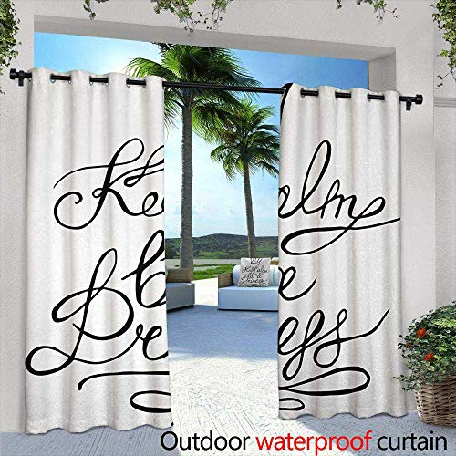 Tim1Beve Outdoor Grommet Top Curtain Panel Keep Calm Be a Princess Motivational Romantic Quote with Hand Letters Save The Date Print Curtains for Living Room 84