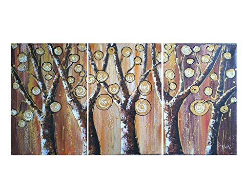 Amoy Art- Hand Painted Modern Tree Oil Painting Canvas Wall
