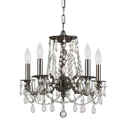 - Crystorama 5545-PW-CL-S, Mirabella Mini Swarovski Crystal Chandelier Lighting, 5LT, 300w, Pewter