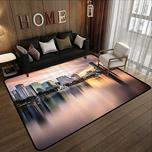 Truck mats,American,USA Florida Downtown City Skyline View from The Lake Foggy Scenic Panorama,Teal Peach Grey 47'x 71' Long Kitchen Mat Bath Carpet