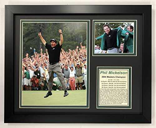 "Legends Never Die PGA Phil Mickelson 2004 Masters Champion Framed Double Matted Photos, 12"" x 15"""