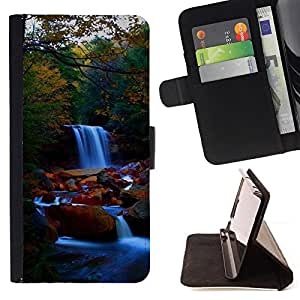 - Waterfall Nature Forrest - - Monedero PU titular de la tarjeta de cr????dito de cuero cubierta de la caja de la bolsa FOR Samsung Galaxy Note 4 IV RetroCandy
