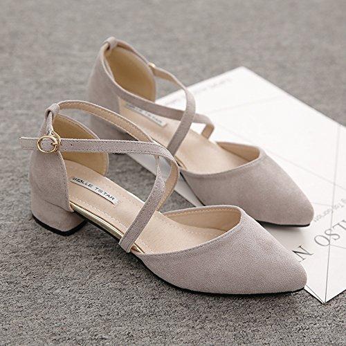 Sandalias High Y Gruesa con Punta Mujer Bajo EU40 SHOESHAOGE Baotou Mujer La Única Eu35 Zapatos Heeled con Zapatos q8Fv56Wv