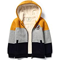 Bumeex Little Big Boys Sherpa Fleece Lined Zip up Hoodie Jacket for 2-14years