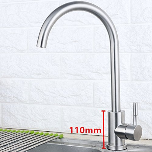 Bijjaladeva Antique Kitchen Sink Mixer Tap Kitchen Faucet Kitchen 304 Stainless Steel Cold Water Slot redating Faucet Brushed 110cm no Tube