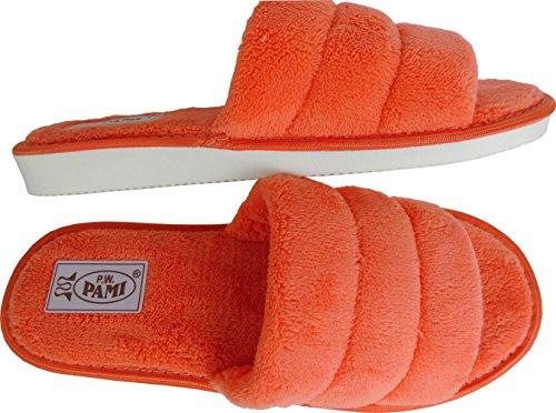 Lusy011 Hausschuhe - Latschen Gr.36, 37, 38, 39, 40, 41 *Super Bequeme*Leicht* -Pfirsich- (PL.12-8-3-15) Orange