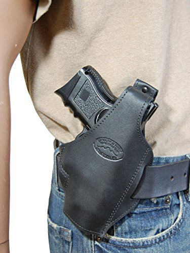 Barsony New Black Leather Concealment Pancake Gun Holster S&W M&P Shield - Concealment Holster Pistol Pancake