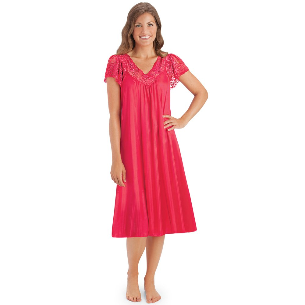 Collections Etc Women's Silky Lace Neckline Tricot Gown, Red, XX-Large by Collections Etc (Image #1)