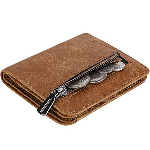 Itslife Women's Rfid Blocking Small Compact Bifold Leather Pocket Wallet Ladies Mini Purse with id Window (Matte Brown)