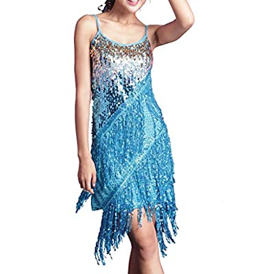 Wuchieal Girls Latin Dress Glitter Sequin Gowns Backless Party Full Dress Prom Dress