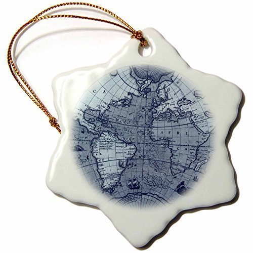 Leiacikl22 Vintage Globe World Map Xmas Decor Snowflake Ornament