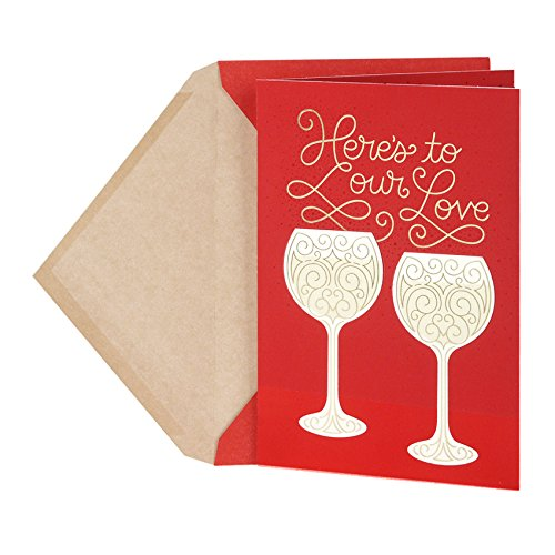 Hallmark Valentine's Day Anniversary Card for Significant other (Two Wine Glasses)