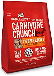 Stella & Chewy's Freeze-Dried Raw Carnivore Crunch Grass-Fed Beef Recipe Dog Treats, 3.2
