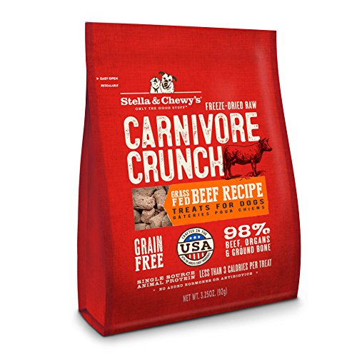 Stella & Chewy's Freeze-Dried Raw Carnivore Crunch Grass-Fed Beef Recipe Grain-Free Dog Treats, 3.25 oz bag - Freeze Dried Recipes