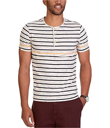 Nautica Men's Slim Fit Striped Short Sleeve Henley Shirt, Sail Cream, XX-Large