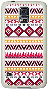 Red teal Aztec Tribal Diamond geometric Pattern Samsung Galaxy S5 Case with White Skin