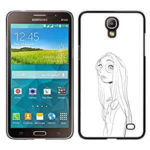 Caucho caso de Shell duro de la cubierta de accesorios de protección BY RAYDREAMMM - Samsung Galaxy Mega 2 - Retrato de la muchacha de la cara Gafas Dibujo al lápiz