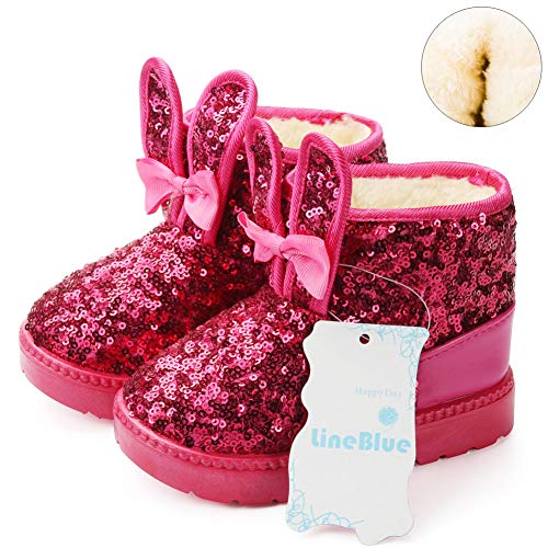 Blue Line Girls Boots, Bunny Kid Boots Warm Winter Sequin Waterpoof Outdoor Snow Boots (Toddler/Little Kids) DTX04,Rose red,29 ()