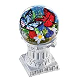 Collections Etc Solar Patriotic Floral Butterfly Garden Gazing Ball on Grecian Column Outdoor Decoration