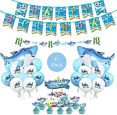 Amycute 40 Piezas Shark Globos de Cumpleaños Niño Fiesta ...