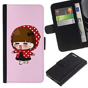 JackGot ( Carino Red Hood della ragazza ) Apple (5.5 inches!!!) iPhone 6+ Plus / 6S+ Plus la tarjeta de Crédito Slots PU Funda de cuero Monedero caso cubierta de piel