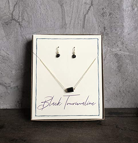 (Black Tourmaline Captive 14k Gold Filled Necklace and Earring Bundle/Gift Set)