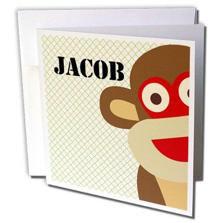 3dRose Jacob Boys Name Monkey, Greeting Cards, Set of 6 (gc_178986_1) -