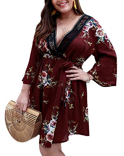 Holagift Women's Plus Size Floral Dresses Lace V-Neck 3/4 Long Sleeves Bohemian Belt Tie Wrap Casual Summer Party Beach Dress (B-Red, 16W-18W)