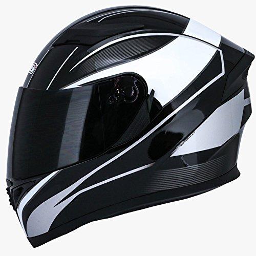 HRO 514 Professional Motorcycle Racing Helmet. 2 Visors - Stylish Design - Protect Your Life + Awesome Bonus: Free D2D Adventure Balaclava. (L, - Dallas Cycle Gear