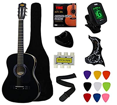 "YMC 38"" Beginner Acoustic Guitar Starter Package Student Guitar with Gig Bag,Strap, 3 thickness 9 picks,2 Pickguards,Pick Holder, Extra Strings, Electronic Tuner"