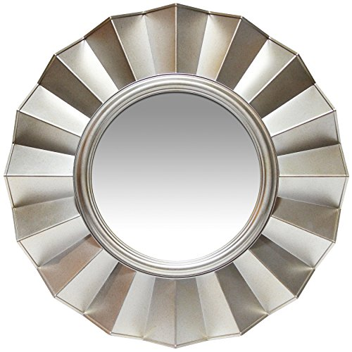 Infinity Instruments Brussels Resin Art Deco Frilled Silver Accent Wall Mirror 20.00 in. ()