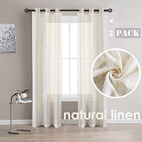 Randall Linen Stripe Window Curtains Grommets Top Semi Sheer Natural Linen Blend Soft Heavy Rustic Panel Pairs 42